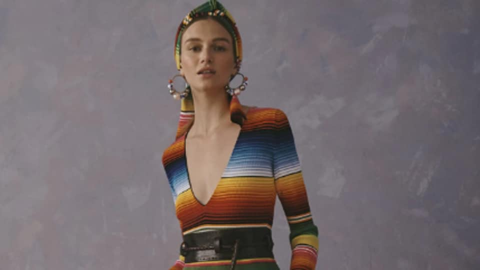 The controversial striped gown from Caroline Herrera's Resort 2020 collection.