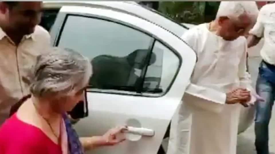 The parents of Nirmala Sitharaman, Savitri Sitharaman and Narayanan Sitharaman, arrived at Parliament in a separate car ahead of her Budget speech.