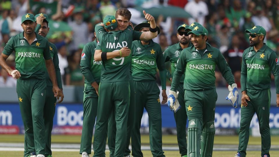 Pakistan's Shaheen Afridi, centre gives a thumbs up as he celebrates with teammates. (AP)