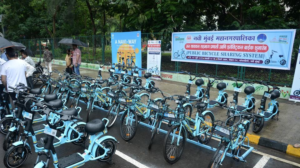 An e-bike stand at Nature garden in Kopar Khairane was inaugurated on Thursday.