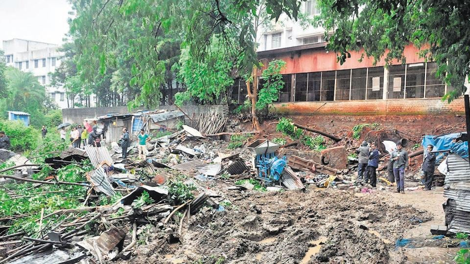 Compound wall collapse at Sinhgad Institute, Ambegaon