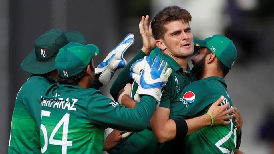Pakistan's Shaheen Afridi celebrates taking the wicket of Bangladesh's Mahmudullah.