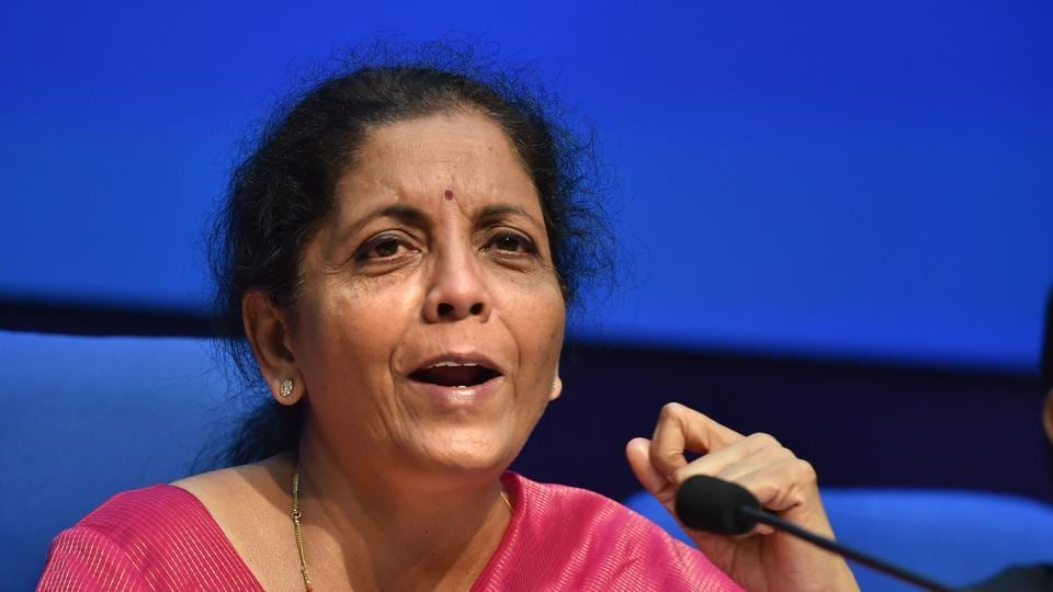 Finance minister Nirmala Sitharaman addresses a press conference after presenting the Union Budget 2019-20, New Delhi, July 5, 2019