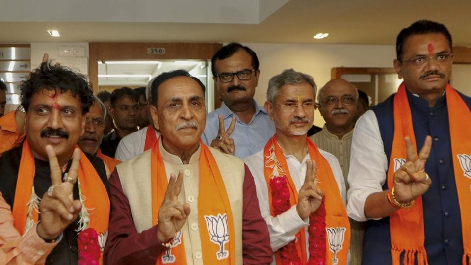Union minister and BJP candidate S Jaishankar (2nd R) along with another party candidate Jugalji Thakor (L), Gujarat CM Vijay Rupani (2nd L) and state BJP chief Jitu Vaghani (R).