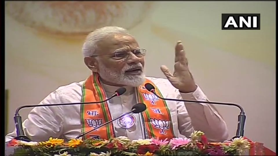 Prime Minister Narendra Modi addressing BJPmembers in Varanasi on Saturday.