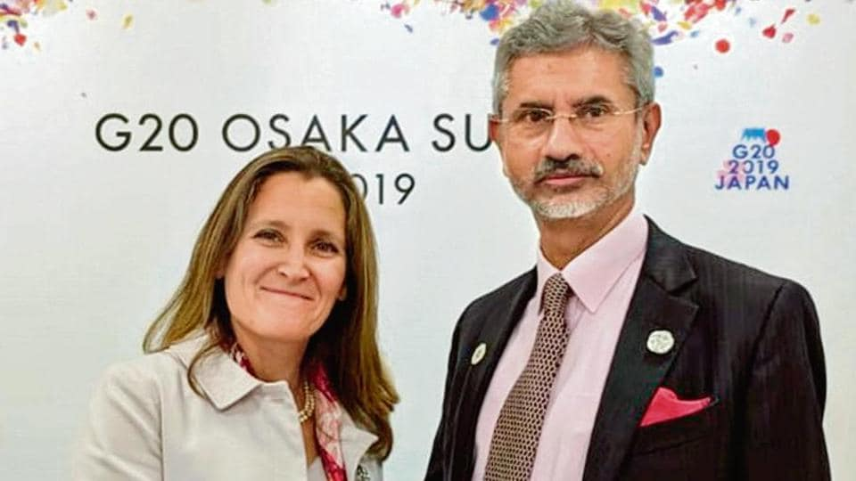 External Affairs Minister S Jaishankar meets Chrystia Freeland, Minister of Foreign Affairs of Canada on the sidelines of G20 Summit 2019 in Osaka