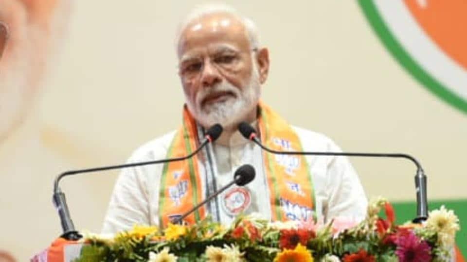 Prime Minister Narendra Modi addresses the launch of BJP membership drive, in Varanasi, India, on Saturday, July 06, 2019.