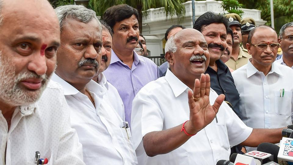 Dissident MLA from JD(S) addresses after meeting with Karnataka Governor Vajuibhai Vala, in Bengaluru, Saturday, July 6, 2019. 11 legislators of the ruling alliance submitted their resignation to speaker's office.