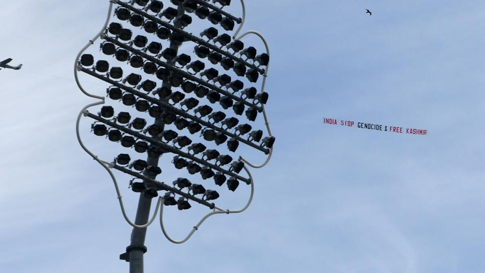 Banners fly over Headingley during India's World Cup clash with Sri Lanka