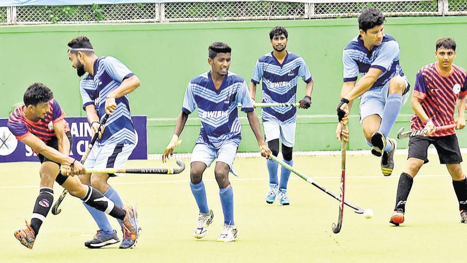Rovers Academy (blue) gave the Sports Authority of Gujarat (SAG) a tough fight on Friday, in the quarterfinals of the Hussain Silver Cup hockey tournament in Pimpri. However, SAG showed all their experience to ensure Rovers did not upset their applecart.