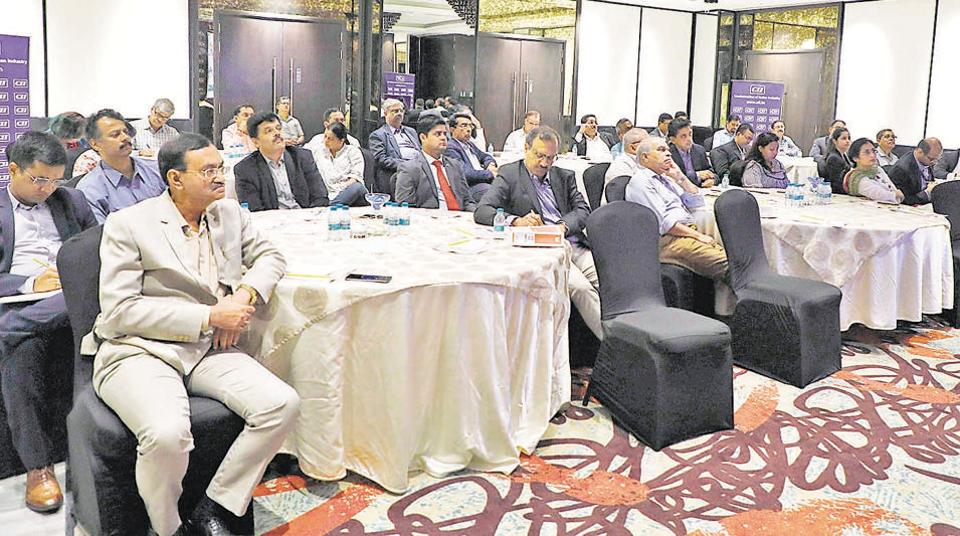 Members of the Confederation of Indian Industries and other guests at the live television presentation of the Union Budget 2019 at the Hotel Lemon Tree near Pune railway station.