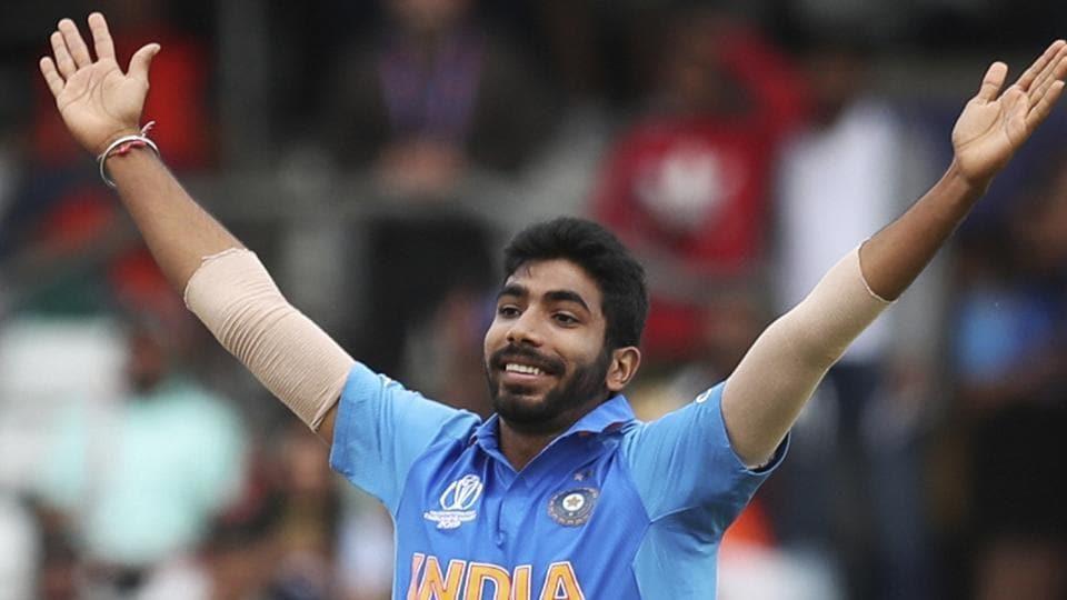India's Jasprit Bumrah celebrates the dismissal of Sri Lanka's captain Dimuth Karunaratne.