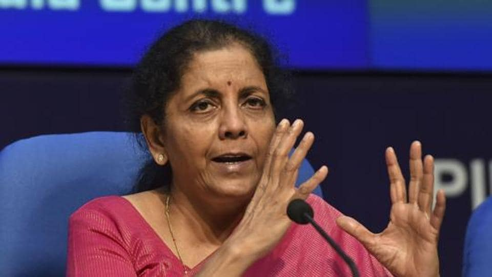 Finance Minister Nirmala Sitharaman addresses a press conference after presenting the Union Budget 2019-20, in New Delhi on Friday.