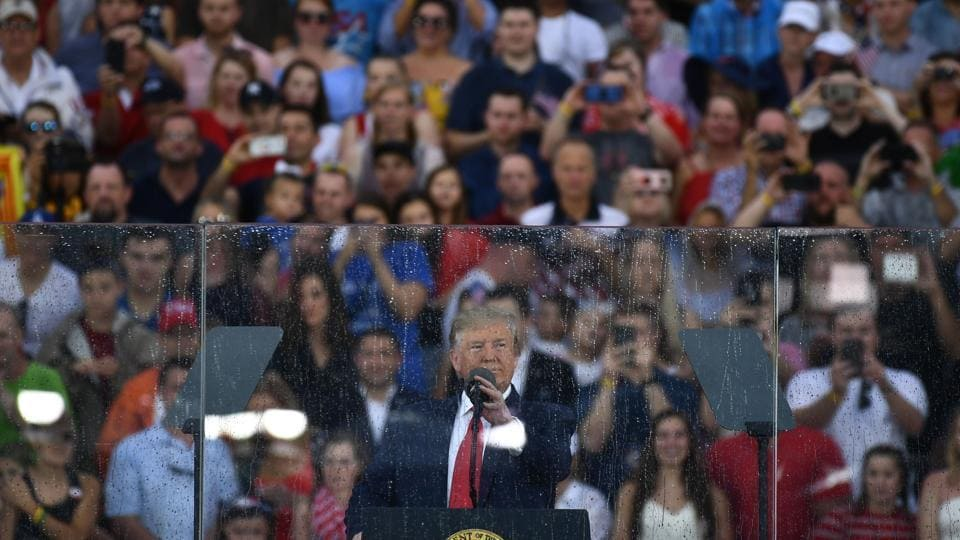 President Donald Trump giving Fourth of July speech.