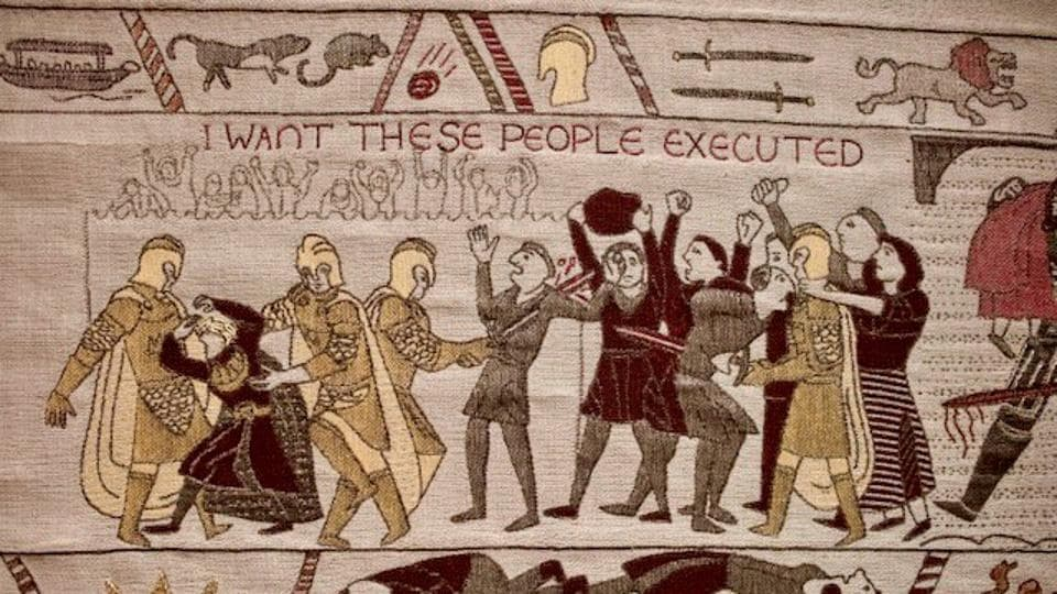It's done in the style of the Bayeux Tapestry.