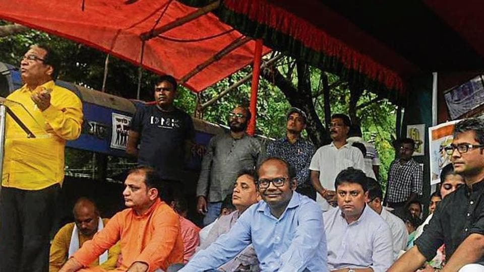 A protest against 'cut money' organised by theBJP workers  in Kolkata, WestBengal.