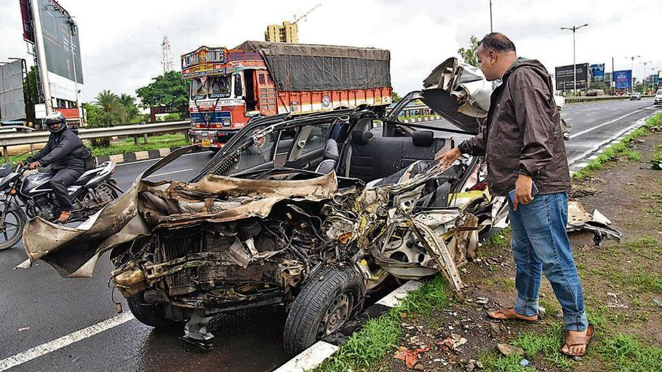 Three people have been killed, and one injured, after a car rammed into a truck on the Pune-Bengaluru highway on Sunday.