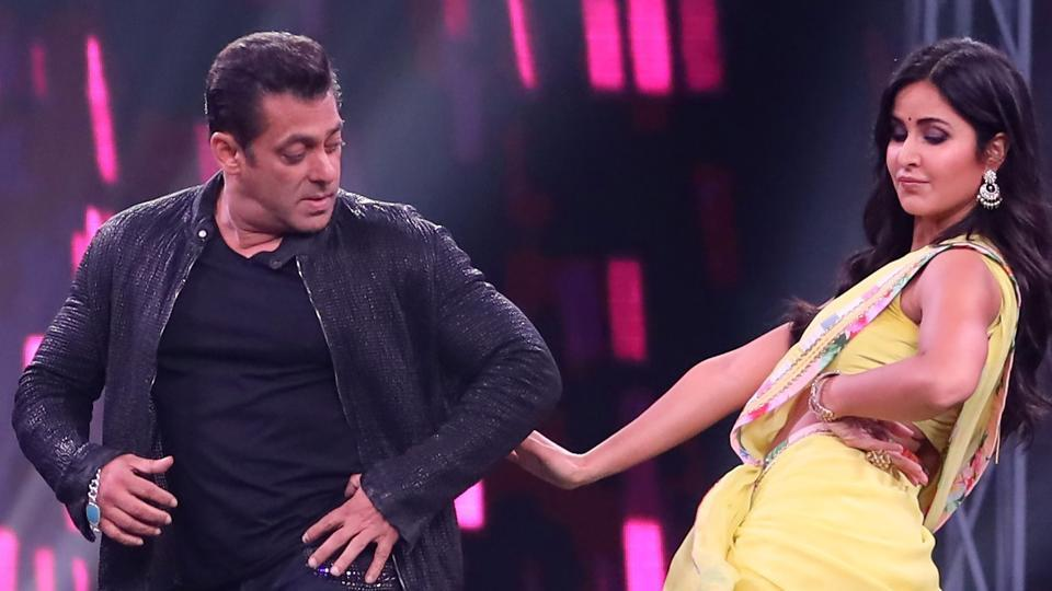 Bollywood actor Salman Khan and Katrina Kaif perform on the sets of Super Dancer Chapter 3.