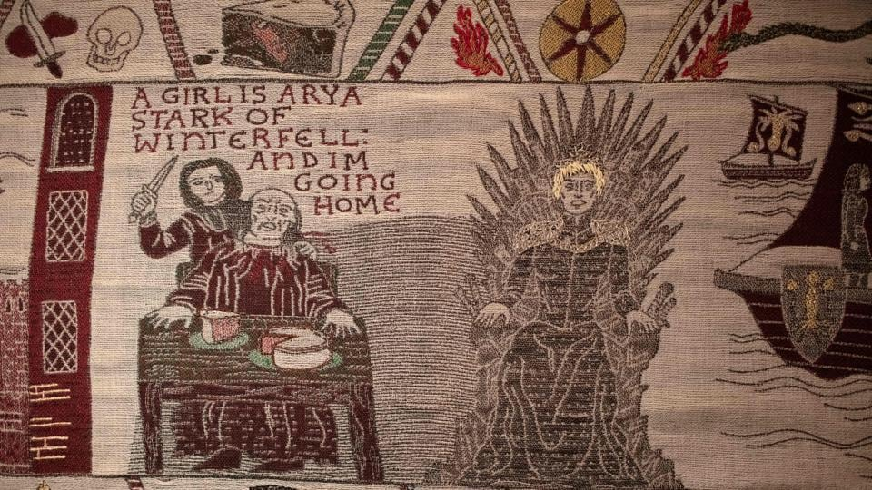 Embroidered scenes on the tapestry depicting the hit television series Game of Thrones are on show at the Ulster Museum in Belfast.