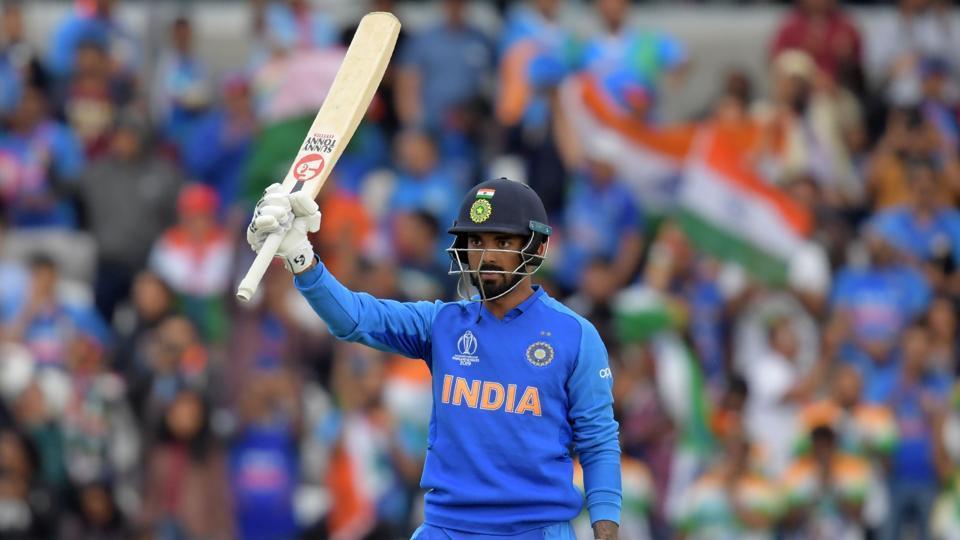 KLRahul celebrates after scoring his century against Sri Lanka.