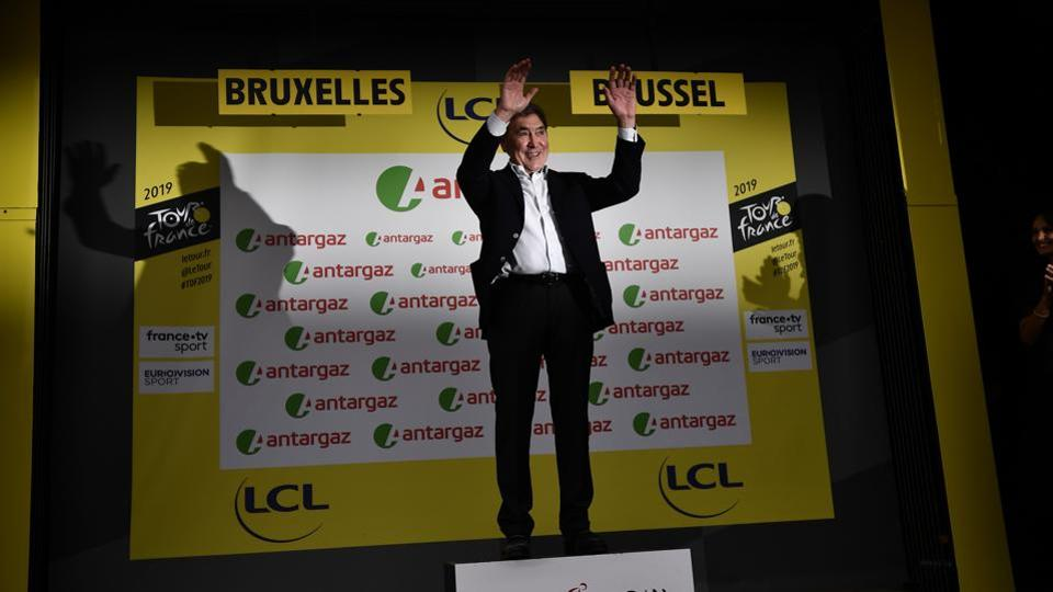 Belgian legend Eddy Merckx poses on the podium before the podium ceremony of the first stage of the 106th edition of the Tour de France cycling race between Brussels and Brussels, Belgium. (Marco Bertorello / AFP)