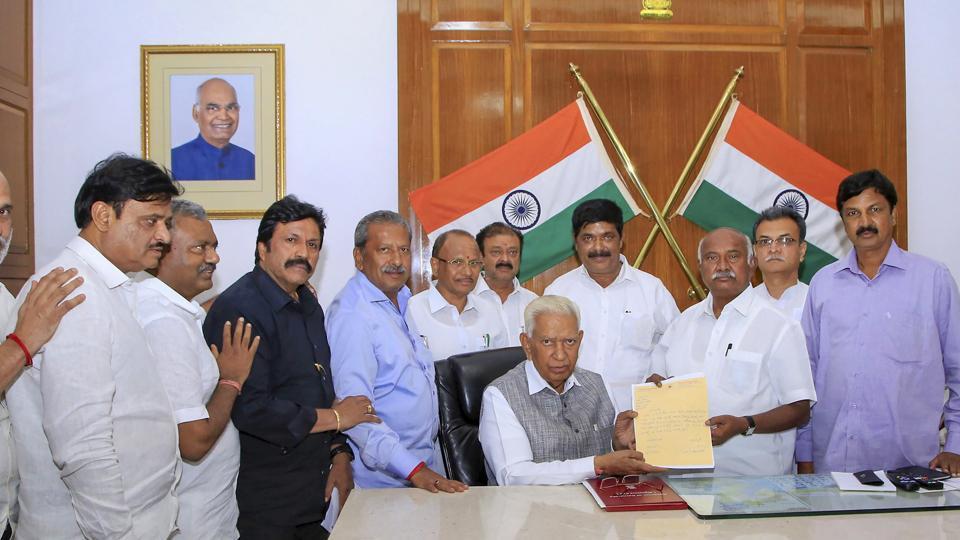 Dissident MLAs from JD(S) and Congress met with Karnataka Governor Vajuibhai Vala at Rajbhavan, in Bengaluru, Saturday, July 6, 2019