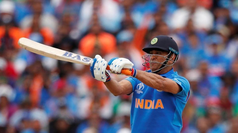 Cricket - ICC Cricket World Cup - Bangladesh v India - Edgbaston, Birmingham, Britain - July 2, 2019 India's MS Dhoni hits a shot from which he is caught out Action Images via Reuters/Andrew Boyers