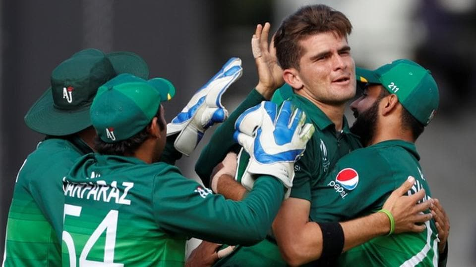 Pakistan's Shaheen Afridi celebrates taking the wicket of Bangladesh's Mahmudullah.