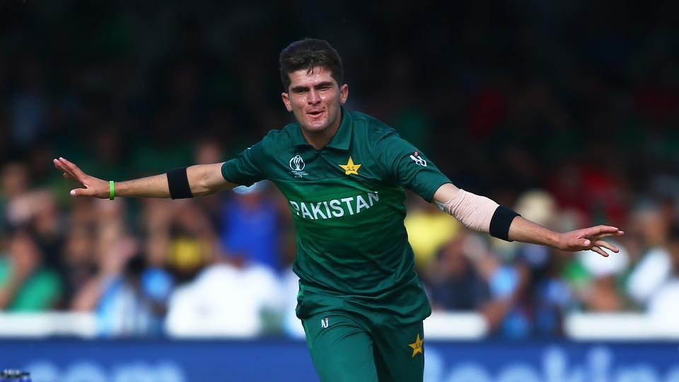 Shaheen Afridi of Pakistan celebrates after taking the wicket of Mahmudullah of Bangladesh, his fifth wicket during the Group Stage match of the ICC Cricket World Cup 2019 between Pakistan and Bangladesh at Lords on July 05, 2019 in London, England.