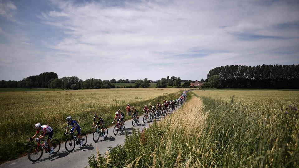 Riders form the pack cycle on a road in the countryside during the first stage of the 106th edition of the Tour de France cycling race on July 6th. (Marco Bertorello / AFP)