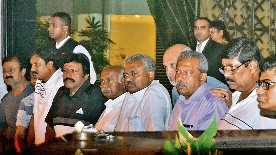Rebel Karnataka Congress-JD(S) legislators at Sofitel Hotel in the city on Sunday.