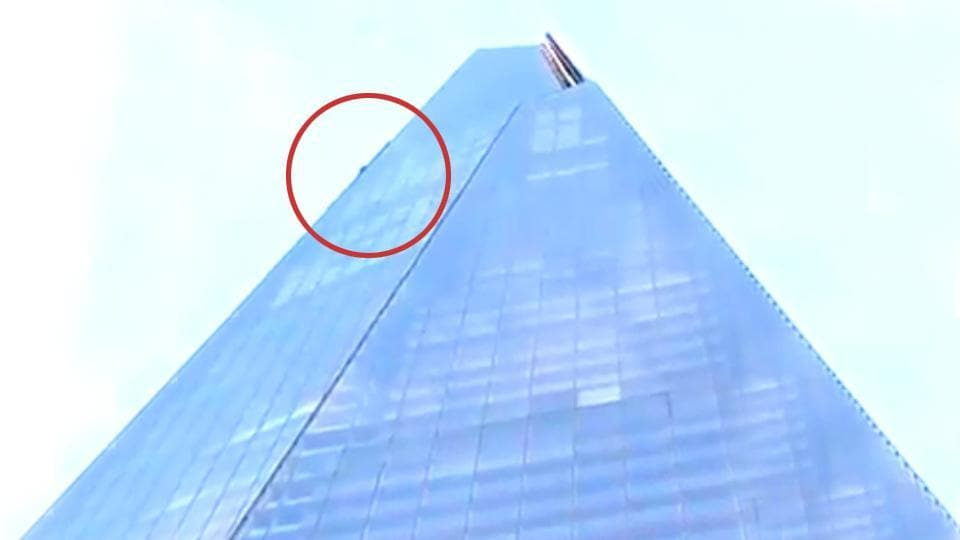 A man was seen climbing the Shard skyscraper in London on Monday.