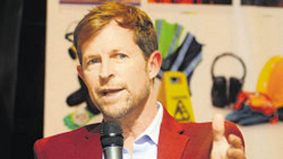 Pune, India - May 1, 2019:Jonty Rhodes, South African cricketer, speaks during an event in Sheraton Park in Pune, India, on Wednesday, May 1, 2019.