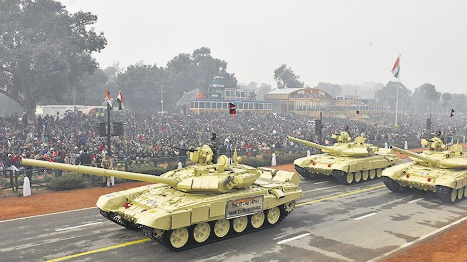 T-90 Bhishma tanks march down Rajpath during the Republic Day parade, New Delhi, January 26, 2016.