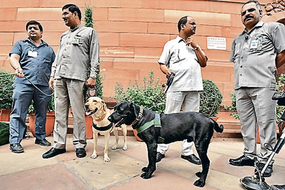 Parliament security,Delhi,sniffer dogs