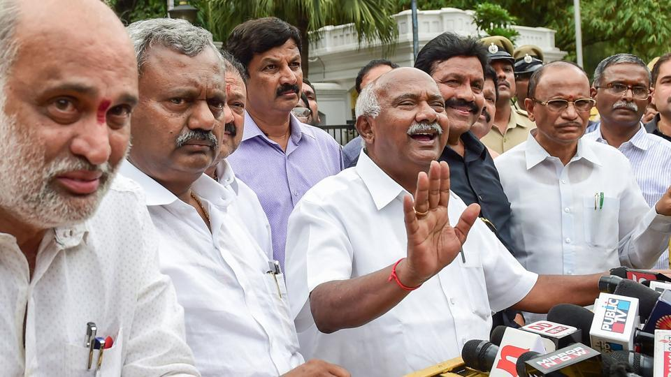 Dissident MLA from JD(S) addresses after meeting with Karnataka Governor Vajuibhai Vala, in Bengaluru, Saturday, July 6, 2019.  legislators of the ruling alliance submitted their resignation to speaker's office.