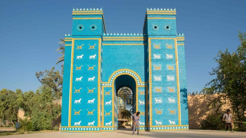 The Ishtar Gate at the ancient archaeological site of Babylon, south of the Iraqi capital Baghdad. The World Heritage Committee met on Friday in Azerbaijan's capital of Baku and voted to include Babylon on the prestigious list, a rank Iraqi authorities had been lobbying since 1983 to reach. (Hussein FALEH / AFP)