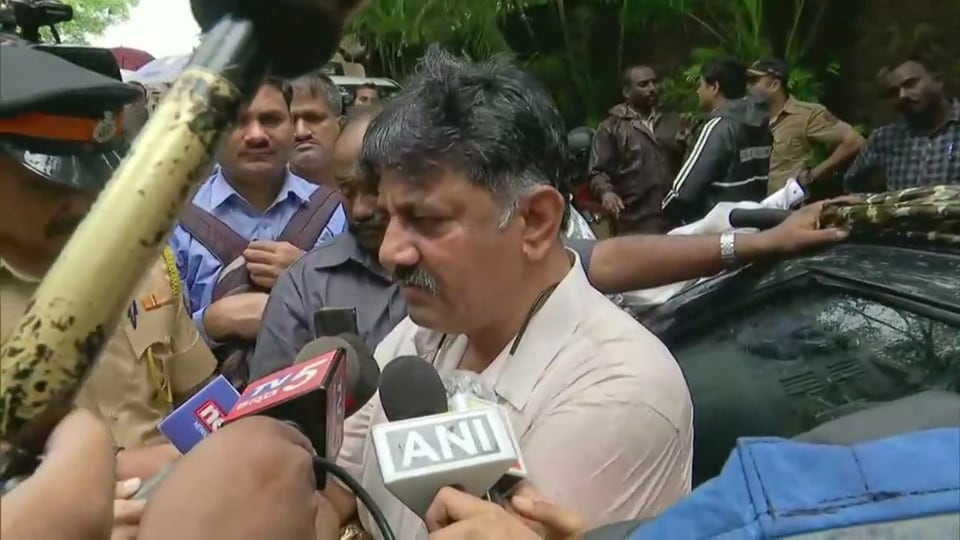 DK Shivakumar seemed undeterred as the rebel leaders' supporters shouted slogans of go back and the hotel cancelled his booking.