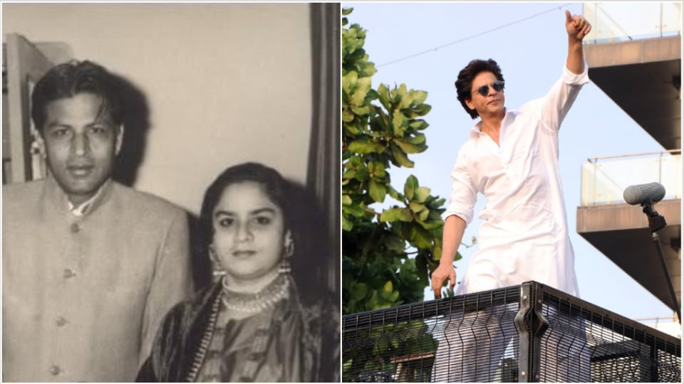 Shah Rukh Khan's parents in an old picture and him at his house on Eid this year.