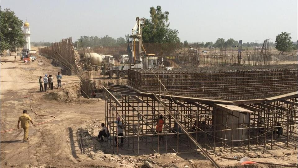 Work underway on the state-of-the-art passenger terminal building at Dera Baba Nanak, which is scheduled to be completed by October-end.