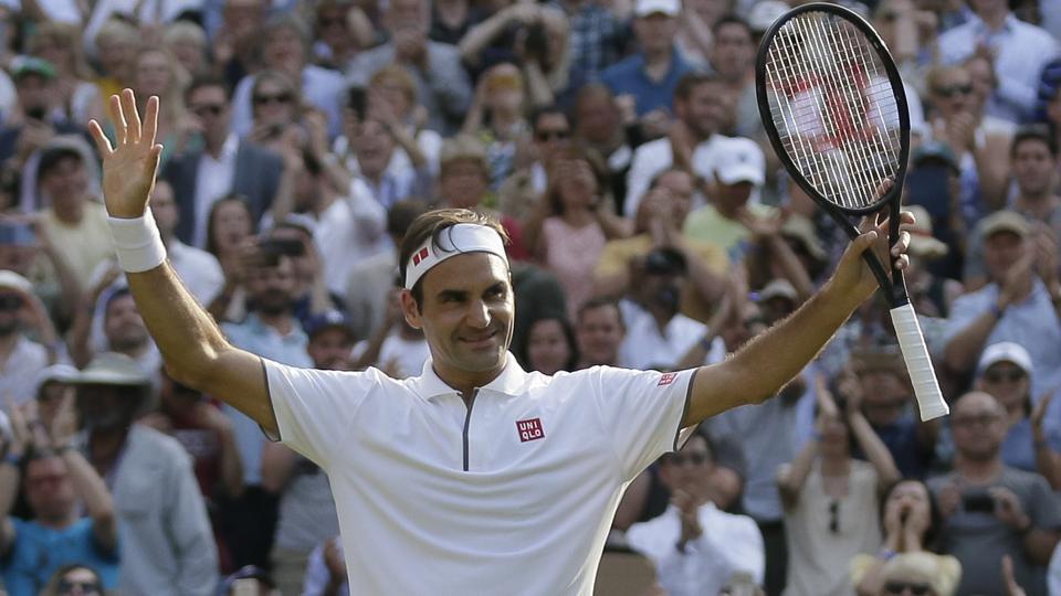 Switzerland's Roger Federer celebrates defeating Japan's Kei Nishikori.