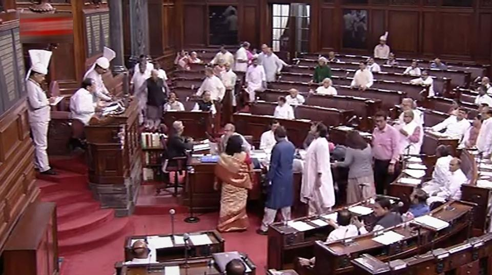 "On Wednesday, Rajya Sabha was adjourned for the second day in a row over the crisis in Karnataka as opposition lawmakers wanted to discuss the issue of ""defections being engineered to dislodge elected governments"". All the 13 MLAs in Karnataka– 10 from the Congress and three from the JD(S) —submitted their resignations last week, threatening the coalition government's slim majority in the 224-member state assembly. (RSTV / PTI File)"