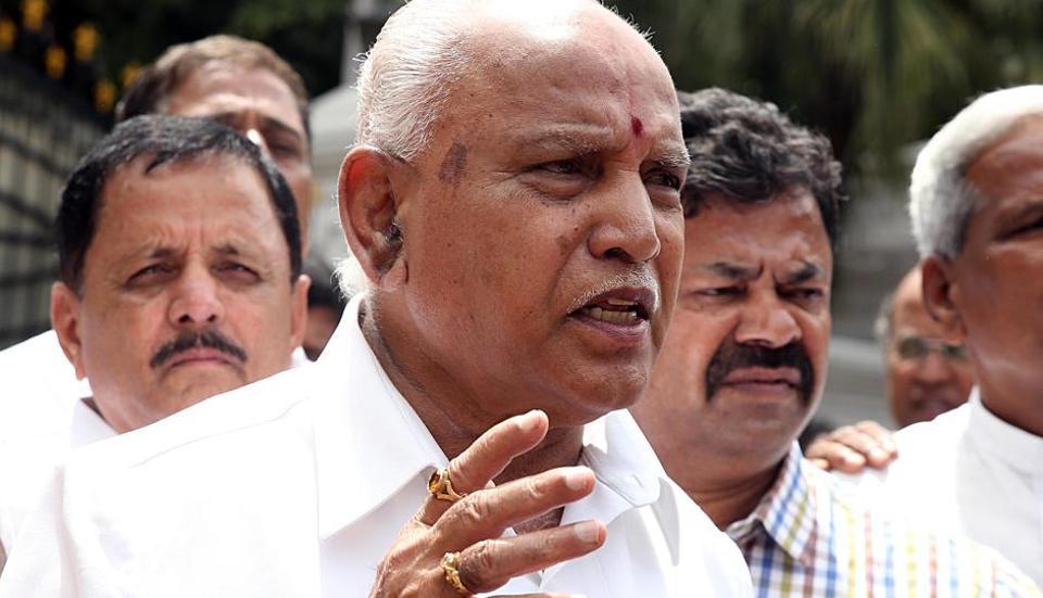 Karnataka, July 10 (ANI): BJP State President B S Yeddyurappa speaks to media after meeting the Governor, in Bengaluru on Wednesday. (ANI Photo)