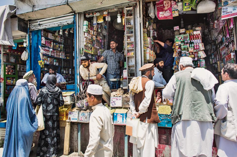 Sikh shopkeepers in the old city of Kabul, Afghanistan, in a photograph dated July 19, 2012.