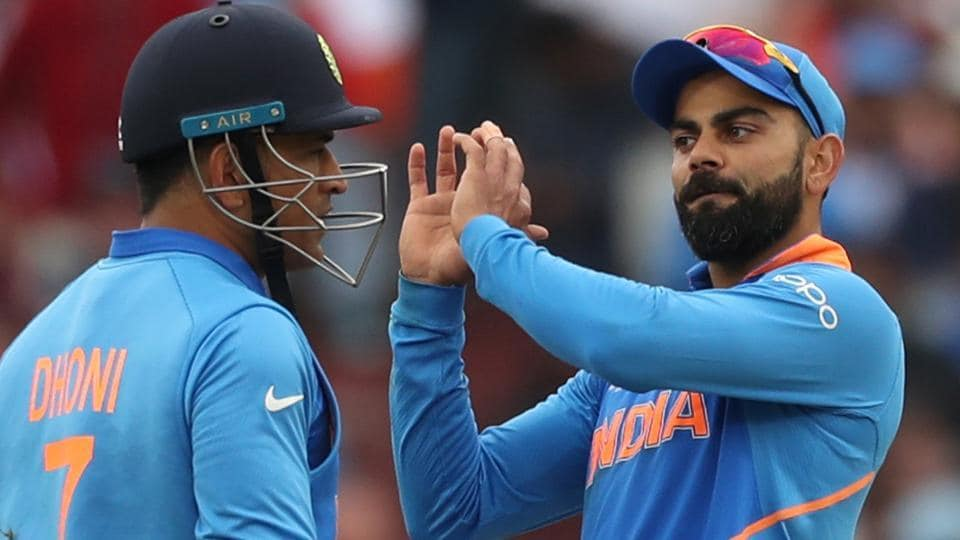 Virat Kohli and MS Dhoni in action during the ICCWorldCup 2019 encounter between India and New Zealand.