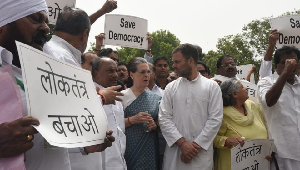 A number of top Congress leaders, including Sonia Gandhi, Rahul Gandhi and Anand Sharma, protested near the Gandhi statue in the Parliament complex and shouted slogans.