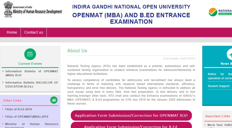 IGNOU OPENMAT MBA, B.Ed admit card today