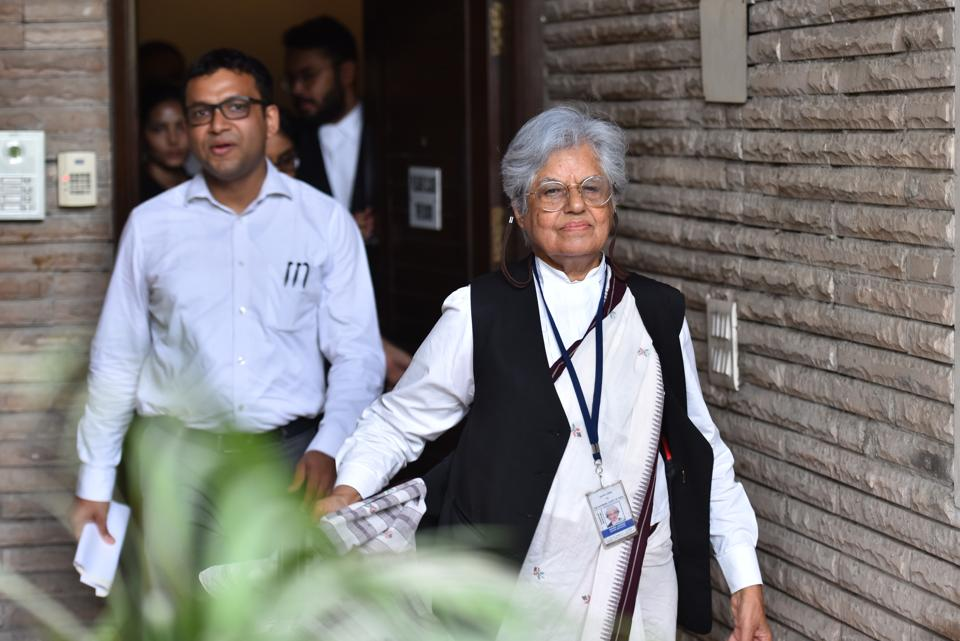 """On Thursday, the CBI searched the residence of senior Supreme Court lawyers Indira Jaising and Anand Grover in Delhi and Mumbai for alleged violation of FCRA norms, officials said. Indira Jaisingh said: """"Mr Grover and I are being targeted for the human rights work that we have done over the years,"""" reports said.  (Sanchit Khanna / HT Photo)"""