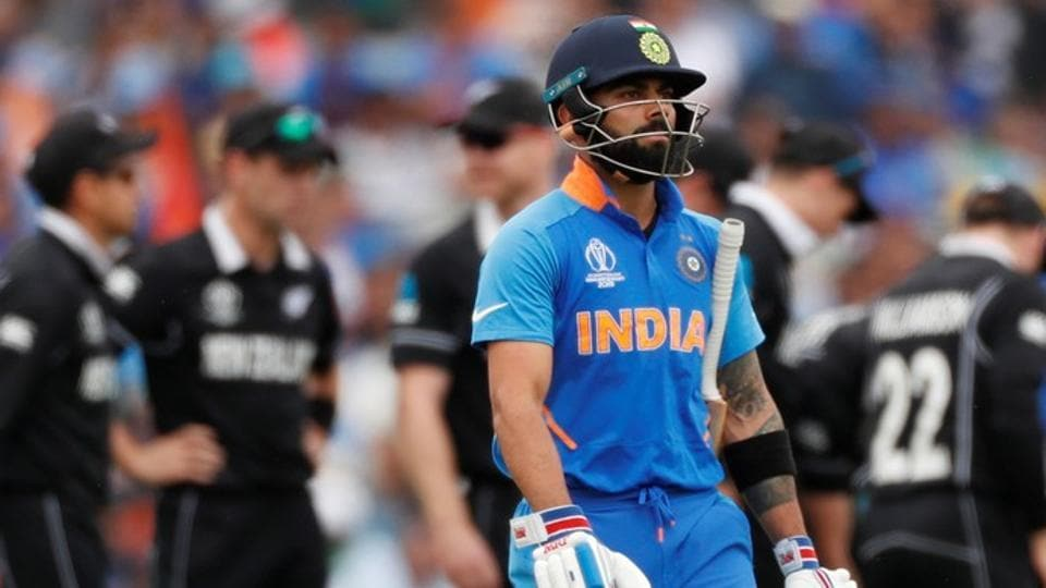 India's Virat Kohli reacts after losing his wicket.