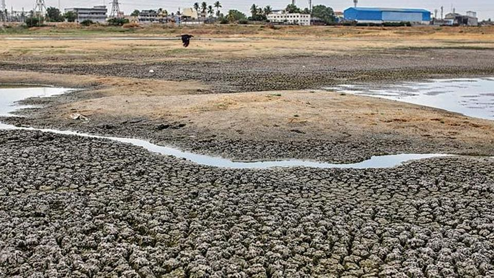 Cracked earth is seen on the bottom of the dried-out Porur Lake in Chennai. Water crisis in Chennai have forced the city's inhabitants to depend on water tankers.